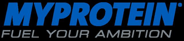 myprotein.de Logo in blau, Subtext: Fuel your Ambition