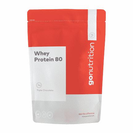 Kunststoffverpackung Rot/Weiß, Inhalt: Whey Protein 80 von GoNutrition