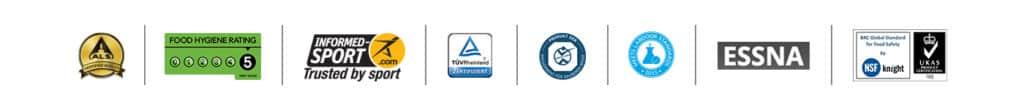 Logos und Zertifikate von Myprotein Produkten. u.a. Kölner Liste