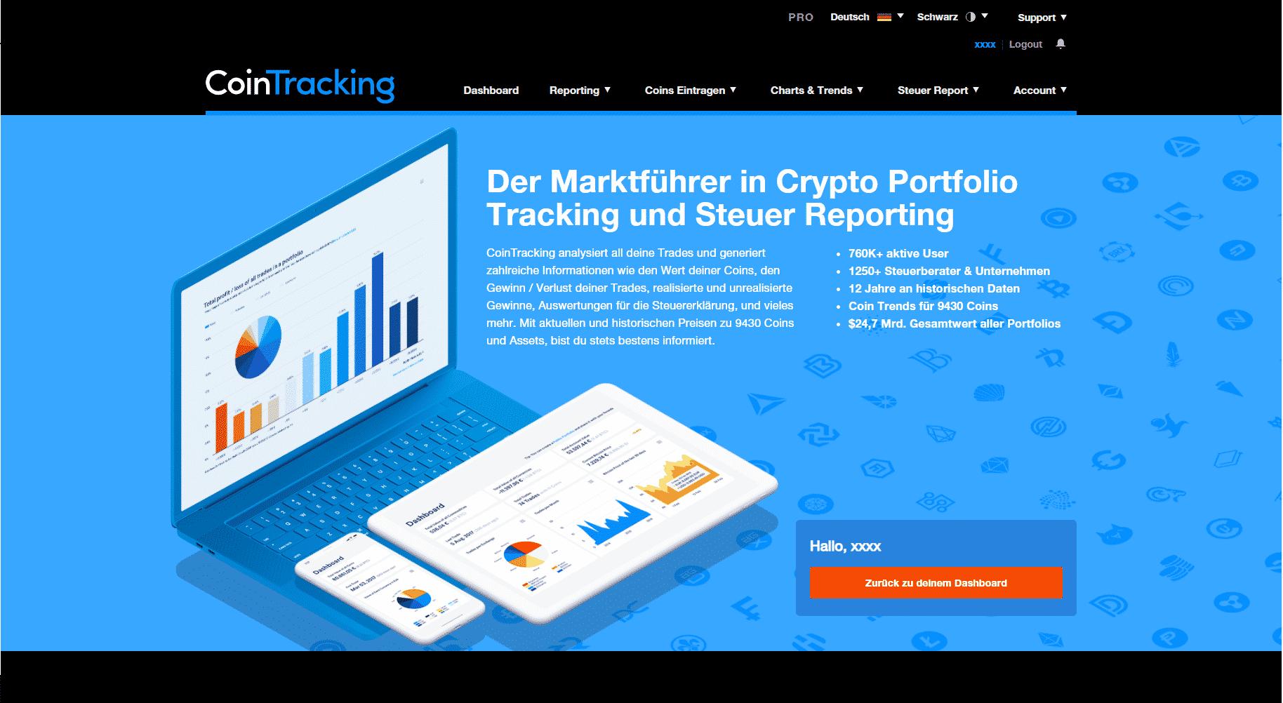 Screenshot der Webseite cointracking.info vom 02.03.2021